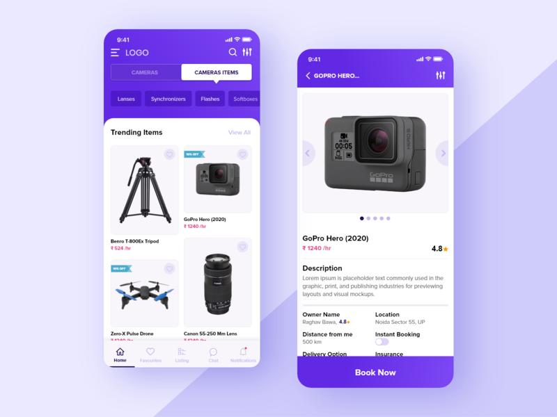 Renting App. app design ux ui