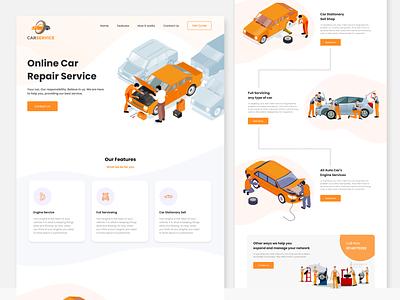 Car Repair Landing Page uidesign uilandingpage onlinecarrepairui userinterface uiux ui designwebsite landingpagedesign carrepair