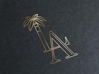 LA Firm fancy elegant tropical palm gold outline logo la