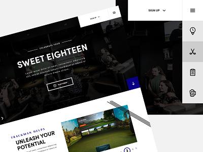 Virtual golf facility website golf ui design golf web design website design web ui design website builder website