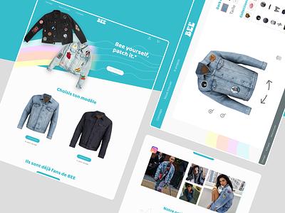 BEE - CUSTOM JACKET SHOP web design colorful clothes 70s customization branding landing page ux ui design
