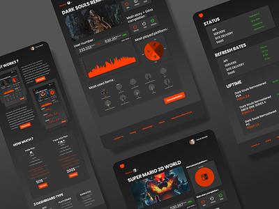GRAPH - DASHBOARD PROJECT graph landing page mario dark souls video games charts web design desktop ux dashboard ui