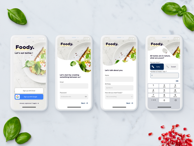 Daily UI Challenge #001 _ Accepted 🔥👊 food app app food ui branding sketch daily ui daily 100 challenge ux  ui