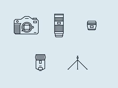 Photographer Tools tripod flash lens prime zoom telephoto dslr tools photographer minimal line icons