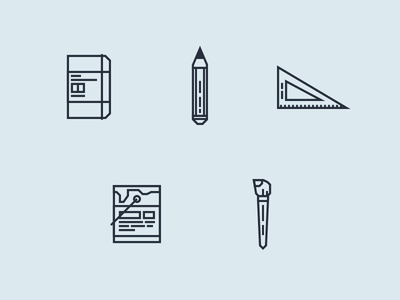 Designer Tools brush bucket paint set-square pencil notebook tools designer minimal line icons