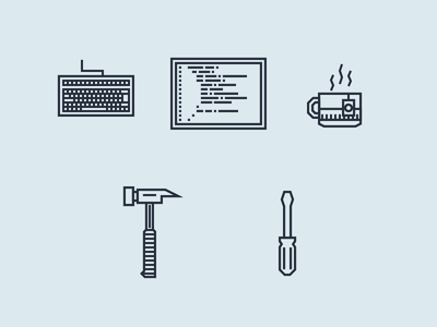 Developer Tools screwdriver hammer tea cup code screen keyboard tools developer minimal line icons