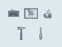 Developer Tools screwdriver hammer tea cup code screen keyboard tools developer minimal line icons