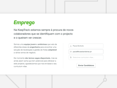 KeepTrack — Hire me! (wide view) portugal white black keeptrack gps helvetica exo non-profit icon iconsweets2 form email jobs track