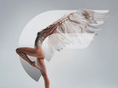 O + F + Angel woman minimal modern wings angel sexy branding logo monogram logo monogram