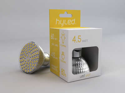 hyled packaging design bulb minimal print led box packaging