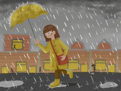 Rainy Day rain illustration childrens book illustration rainy day kids illustration cute illustration digital illustration art illustration