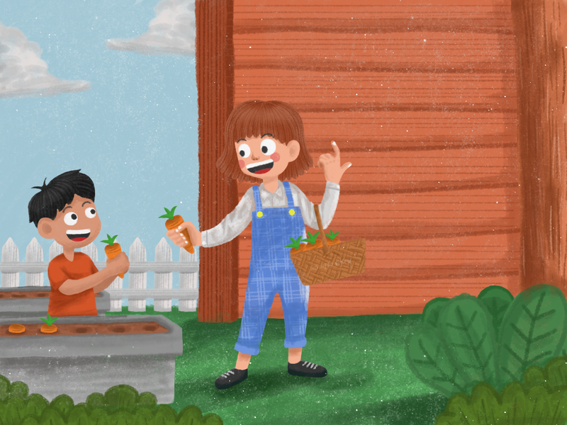 Harvesting Carrot harvest illustration carrots harvesting harvest carrot harvest design digitalart digital painting digital lettering cute art childrens book illustration art digital art good artwork kids illustration cute illustration digital illustration illustration
