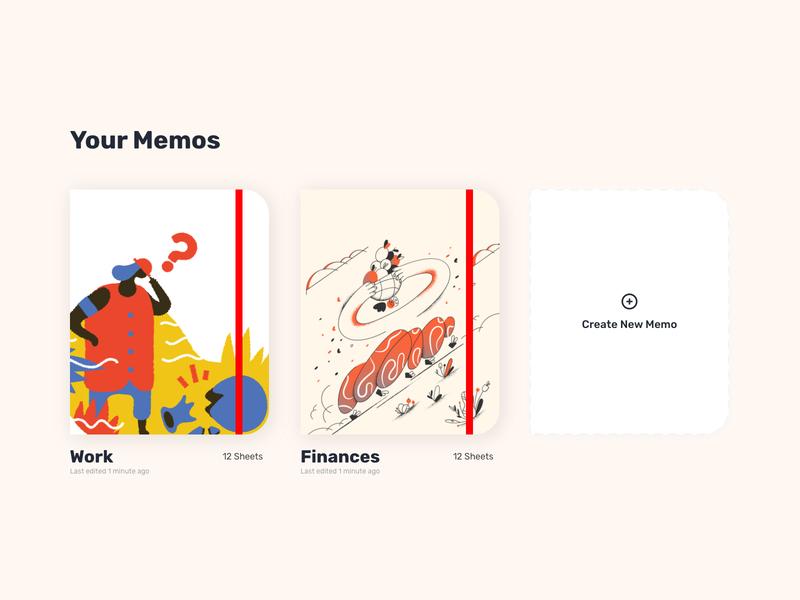 Memos and notesbooks #MemoApp #usememo ux ui illustrations madewithxd adobe xd memo memos cards notebooks notes