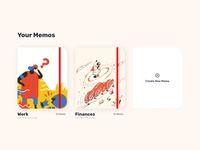 Memos and notesbooks #MemoApp #usememo ux ui illustrations madewithxd adobe xd memo memos cards notebooks notes
