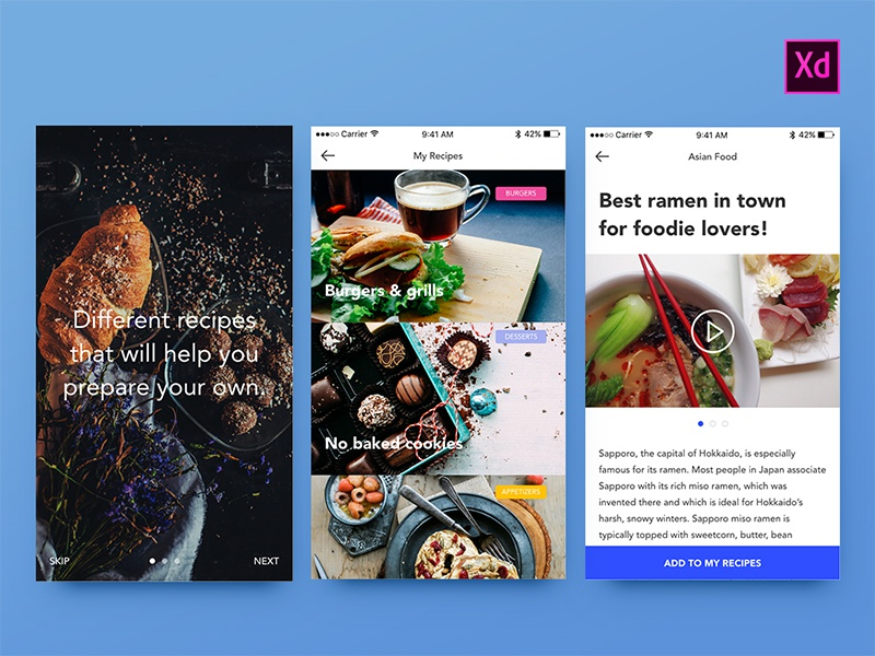 Foodies UI Kit - Adobe Xd freebie foodie food app mobile web design prototype adobexd adobe