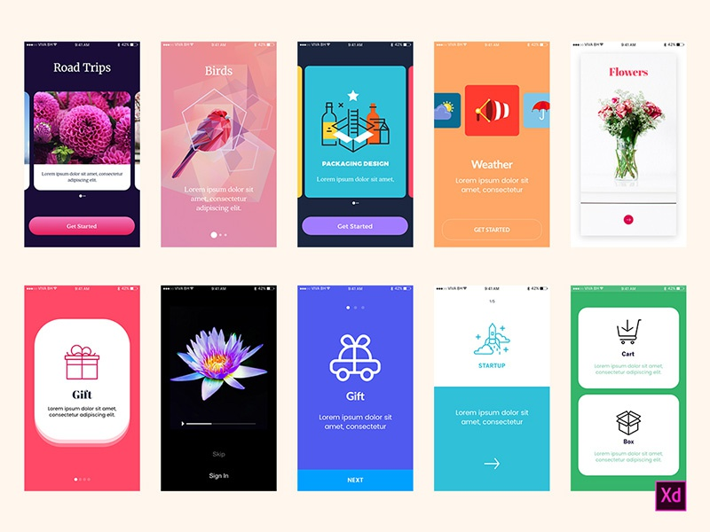 Walkthrough Screens for Adobe Xd screens app walkthroughs walkthrough xd adobexd