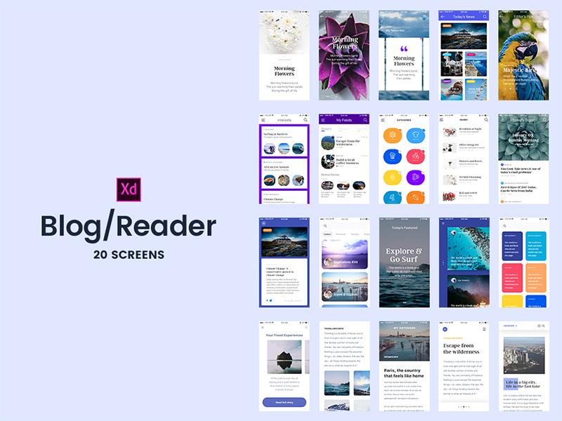 Freebie - Adobe Xd 20 Blog/Reader Screens apps mobile screens adobe adobexd app magazine reader blog