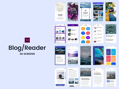 Freebie - Adobe Xd 20 Blog/Reader Screens