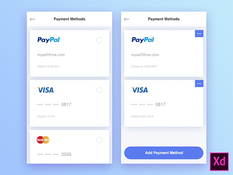 Freebie - Payment Methods  freebie adobexd xd adobe mobile app ecommerce methods payment