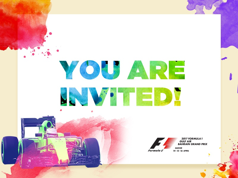 Formula One emailer invite splashes illustrations psd edm e-invite colorful colours splash emailer invite