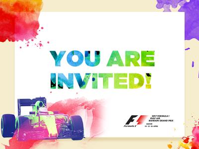 Formula One emailer invite splashes illustrations psd edm e-invite colorful colours splash emailer invite