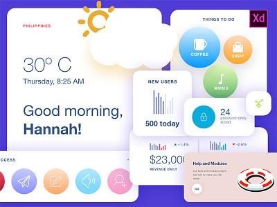 Freebie - UI Kit Widgets dashboard icons cards statistics news blog adobexd freebie widget widgets kit ui
