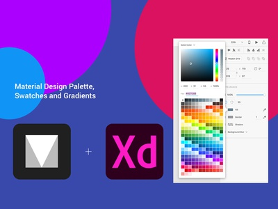 Freebie - Material Design Color Palette for Adobe Xd freebie free experiencecc adobexd xd adobe swatches gradients palette cards design material