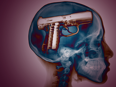 Your Mind is a Weapon x-ray gun skull head