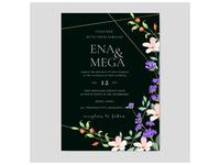 Elegant wedding card template with beautiful flowers wreath