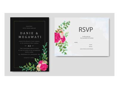 Beautiful floral frame wedding invitation card template
