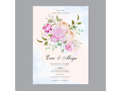 Wedding invitation with beautiful flowers leaves
