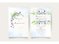 Beautiful floral wedding invitation card set