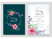 Beautiful floral wedding invitation card set Premium Vector