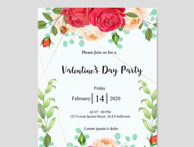 Valentine's day party invitation card 2020