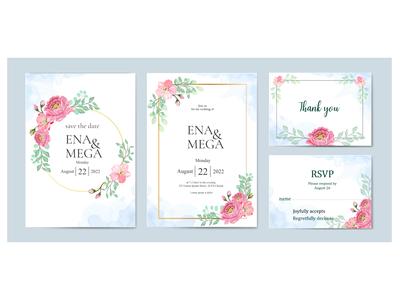 beautiful wedding invitation card bundle with pink flowers