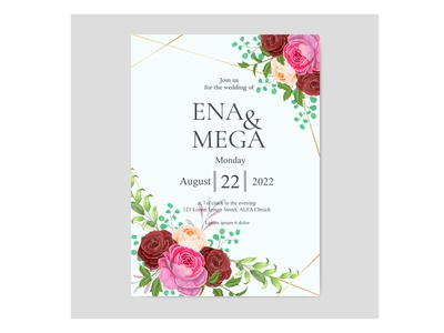 Wedding invitation card design with rose floral