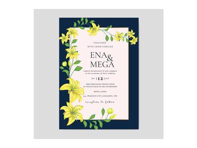 Beautiful wedding invitatioon card wth yellow flowers