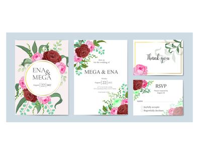 Wedding invitation card set bundle design
