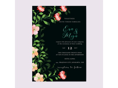 Wedding invitation tamplate with beautiful flowers and leaves