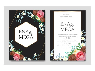 Wedding invitation set template with beautiful rose flowers