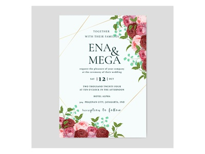 Wedding invitation tamplate with rose flowers