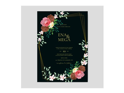 Wedding invitation card tammplate with rose flowers