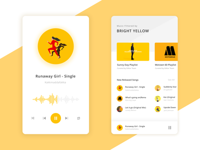 Music Recommendations by Colors Concept recommendation player interface design interaction design playlists playlist curated orange cover art yellow music app ux ui