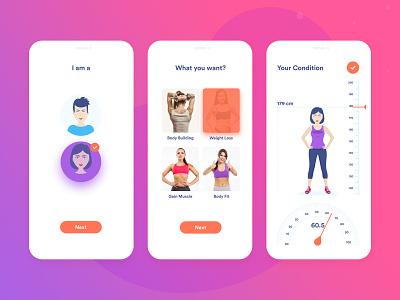 Fitness Guide Mobile App color clean design concert ui diet dieter figure scale body builder body building health health app ios meal plan figma