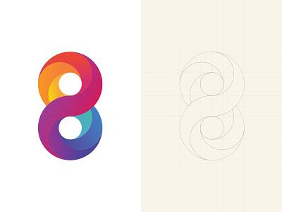 Logo Deisgn Concept logo color gradient logo-design modern flat color design clean design monogram eight 8