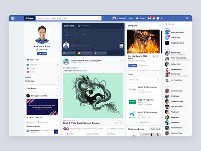 Facebook Redesign Concept message newsfeed create post post profile uiux design uiux u ui landing facebook re-design social website app event hangouts chatting chat facebook post facebook