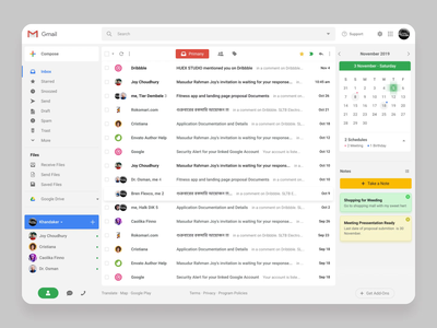 Gmail Redesign Concept clean design upload chat todo reply task calendar website web ux ui typography attachment interface animation 2d app redesign mail gmail