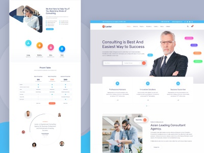 Lector Business Consulting Website Design website design business lector css html landing page concept financial consulting agency video testimonial color pricing table case study advisor finance consulting landing design website landing page design clean design