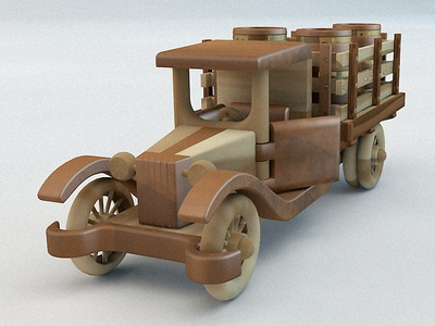 Wooden Toy Car cinema4d 3d