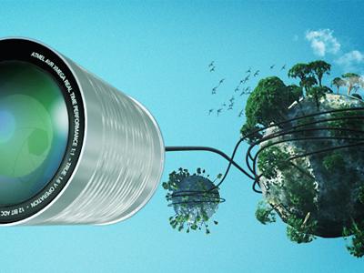 Hello World communication tin-can photoshop cinema 4d worlds lense